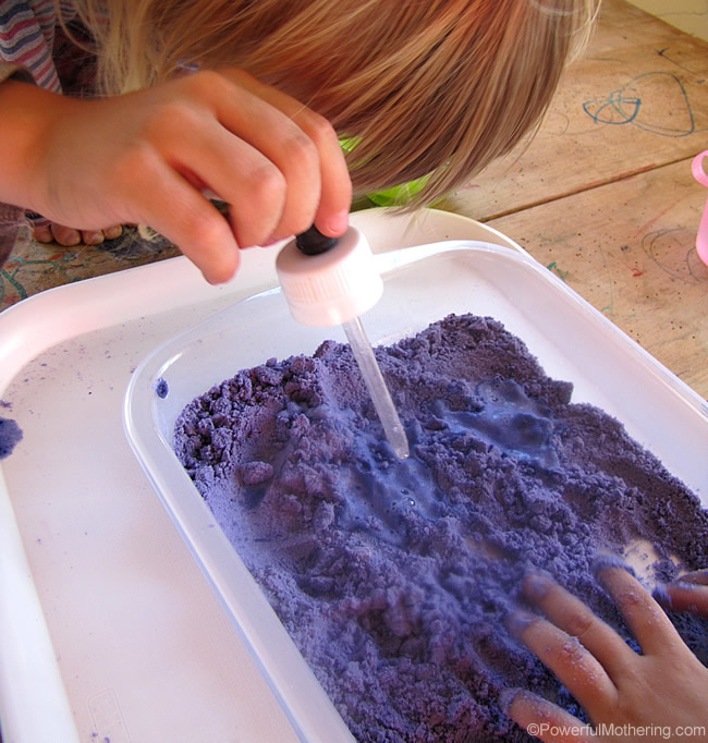 See powerful mothering for alternative versions of Cloud Dough and activities