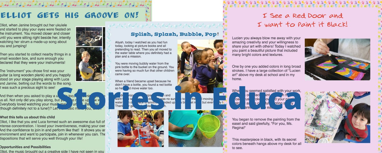 learning stories printed or online in Educa